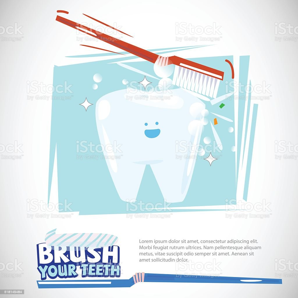 brushing teeth. healthy mouth with typographic design- vector vector art illustration