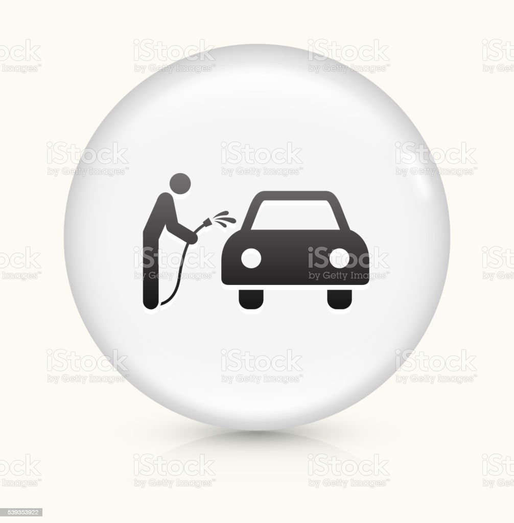 Brushless  Hand Car Wash icon on white round vector button vector art illustration
