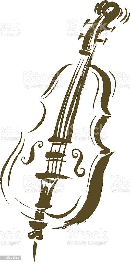 Brushstroke Cello vector art illustration