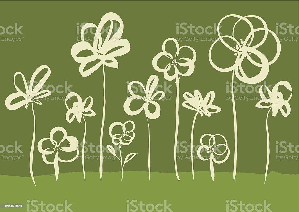 Brushstroke Flower Collection royalty-free stock vector art