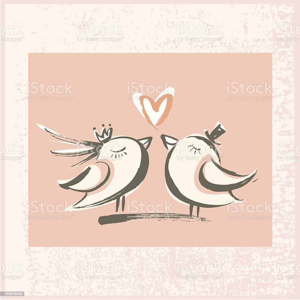 Brushstroke Love Birds royalty-free stock vector art