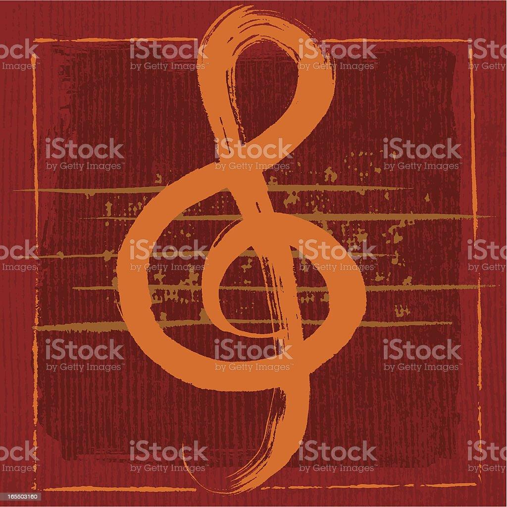 Brushstroke Music Note royalty-free stock vector art