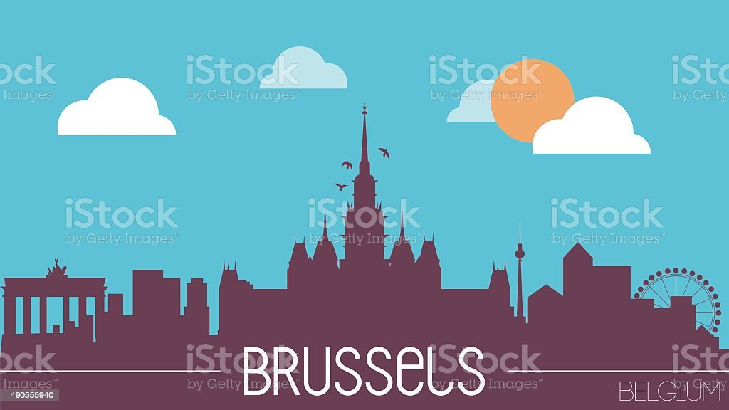 Brussels Belgium skyline silhouette vector art illustration