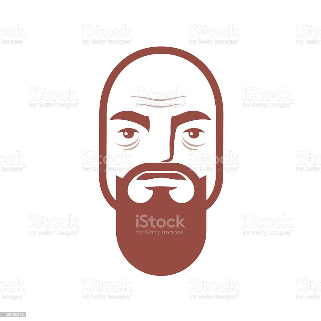brutal bald man with a beard vector art illustration