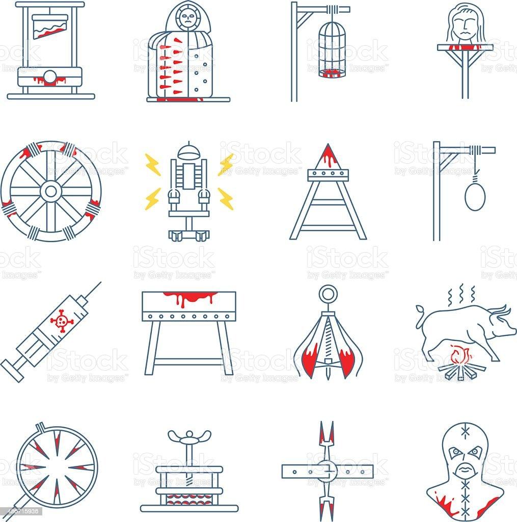 Brutal torture device icons vector art illustration