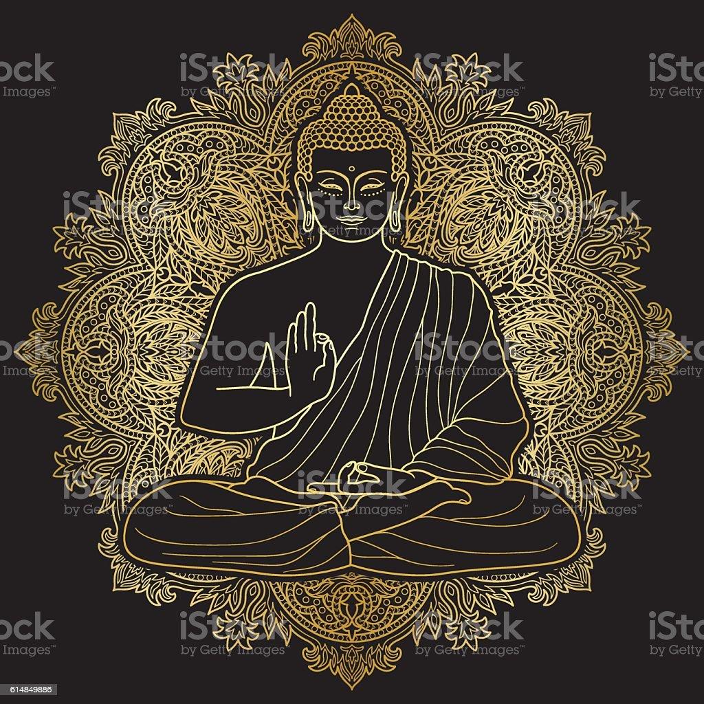 Bubbha Sitting in Lotus position vector art illustration