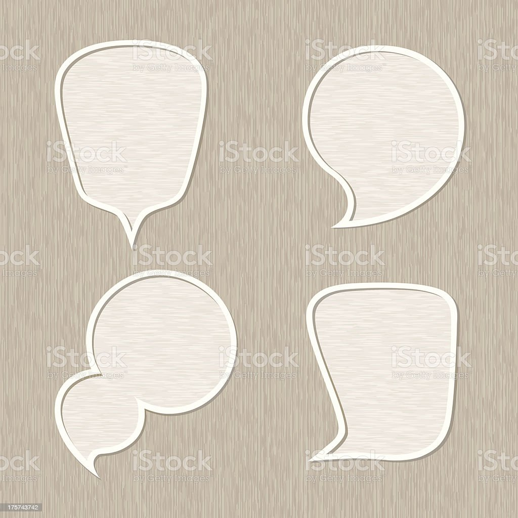 Bubble for speech set, Wooden style royalty-free stock vector art