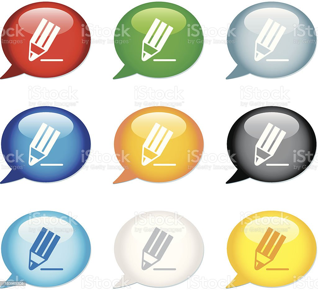 'Bubble' Icon Series   Comments/Pencil royalty-free stock vector art