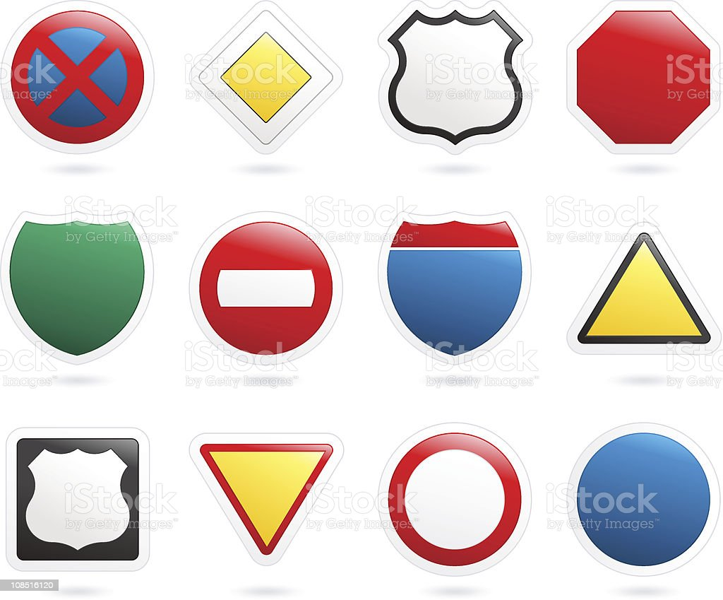 Bubble Icon Series   Road Signs royalty-free stock vector art