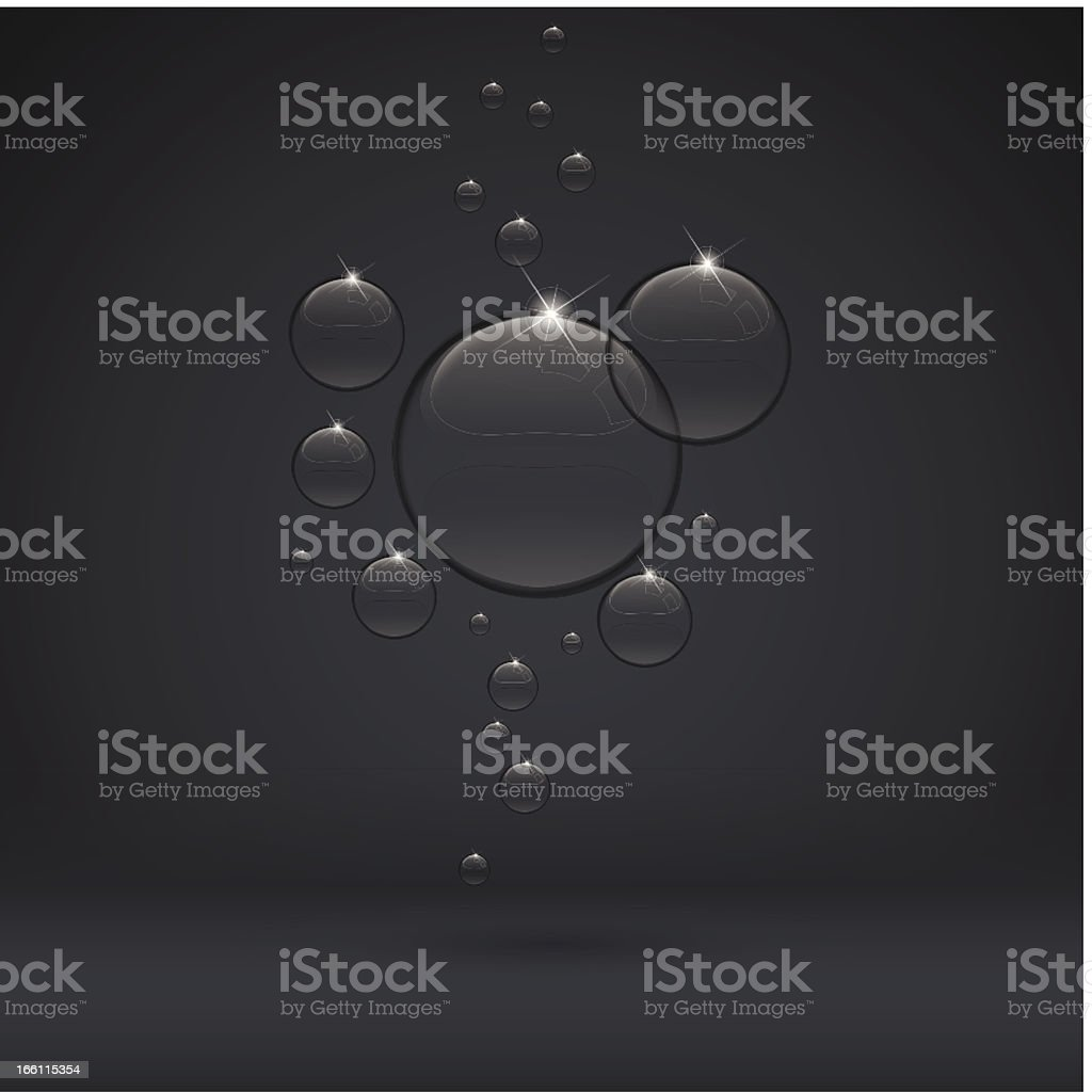 bubble on dark background black transparent drop royalty-free stock vector art