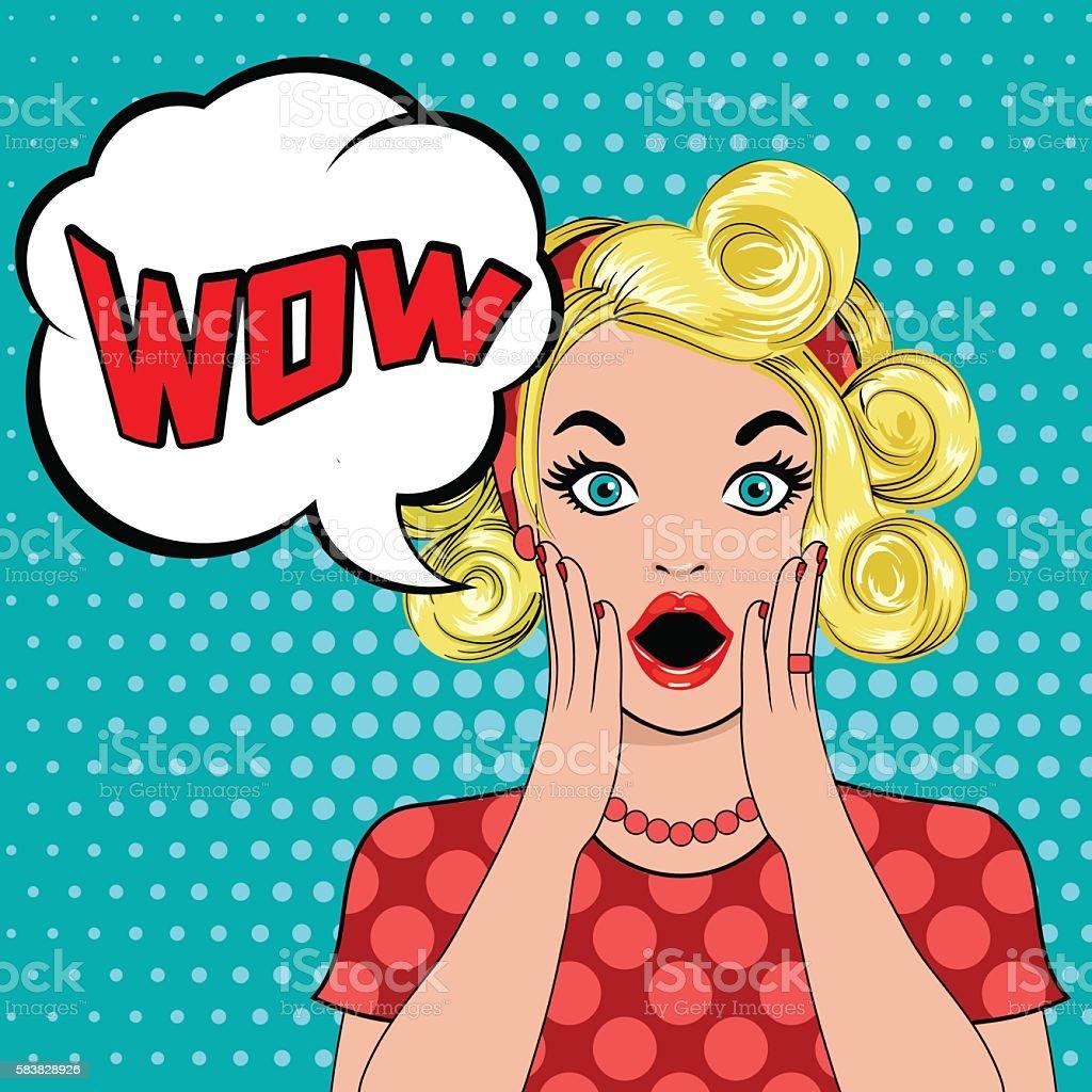 WOW bubble pop art surprised blond woman vector art illustration
