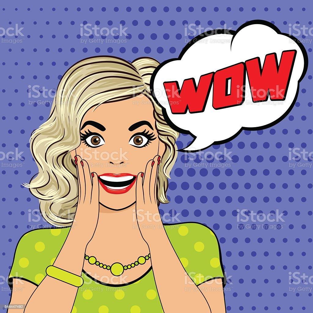 WOW bubble pop art surprised woman face. vector art illustration