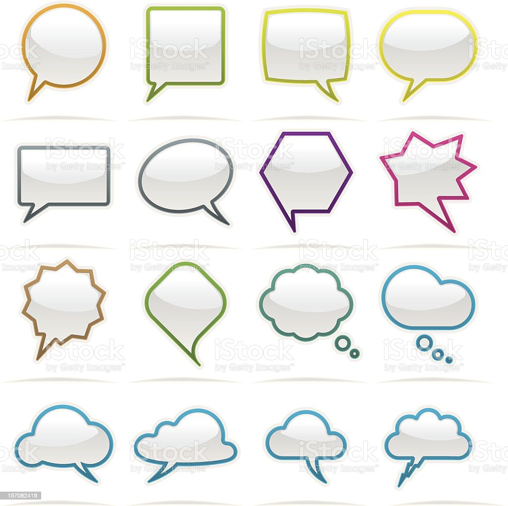 Bubble speech icon set royalty-free stock vector art