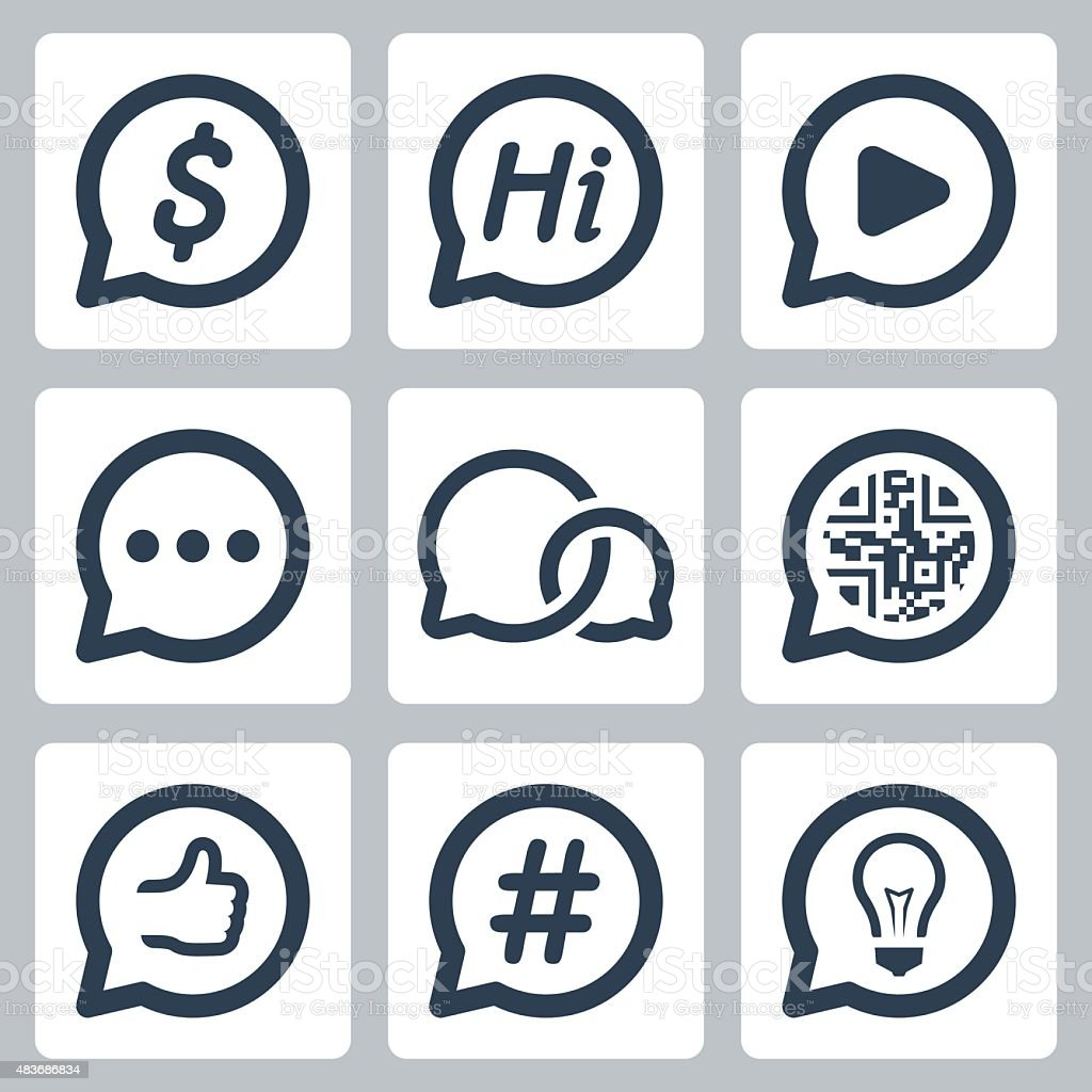 Bubble speeches concepts vector icon set vector art illustration