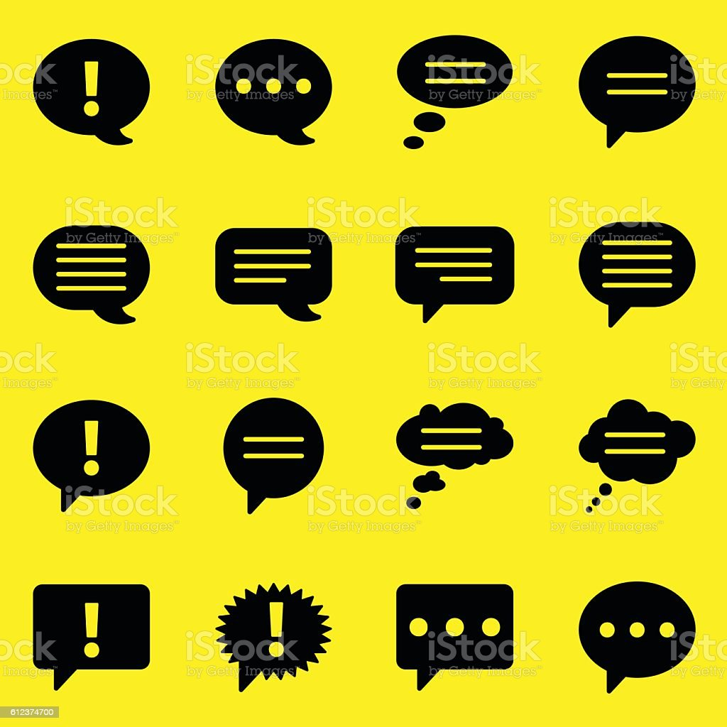 Bubbles Icons - Yellow Background vector art illustration