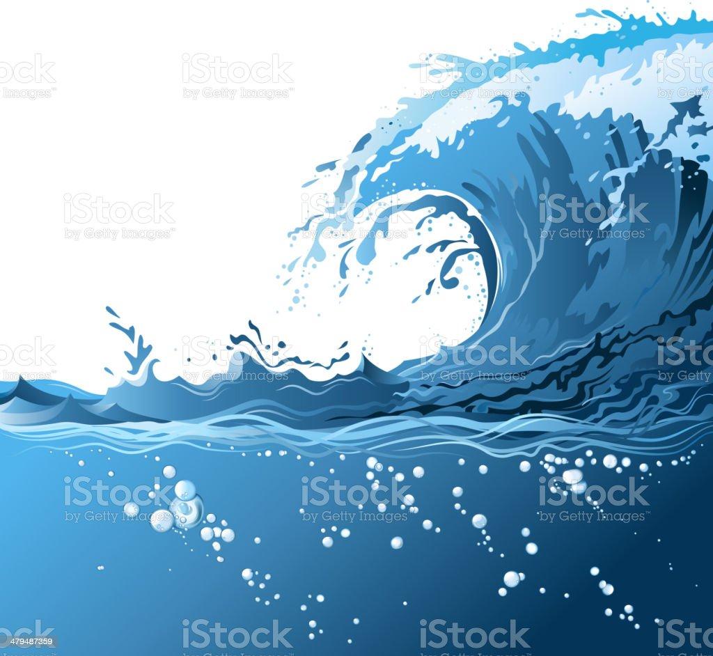 bubbles on wave vector art illustration
