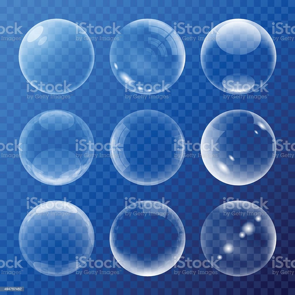 Bubbles signs set vector art illustration