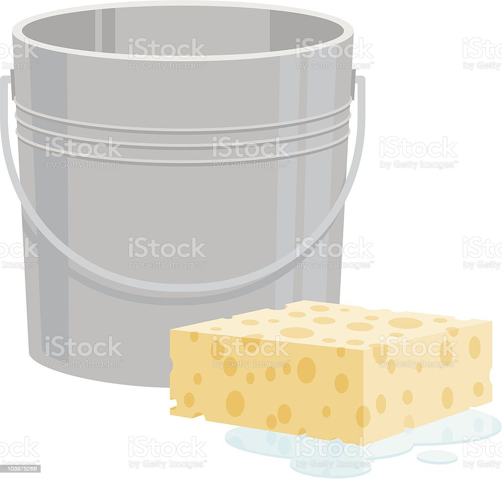 Bucket and Sponge royalty-free stock vector art