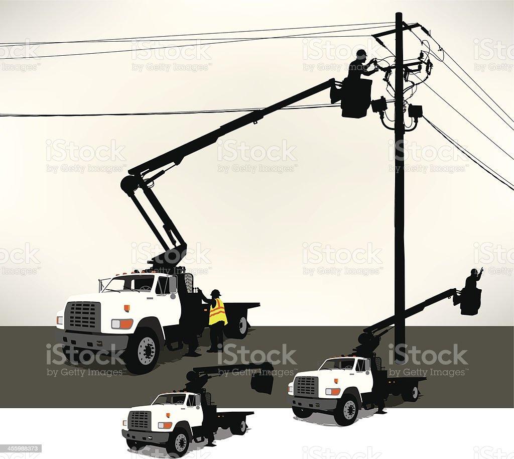 Bucket Truck, Electrician, Power Line vector art illustration
