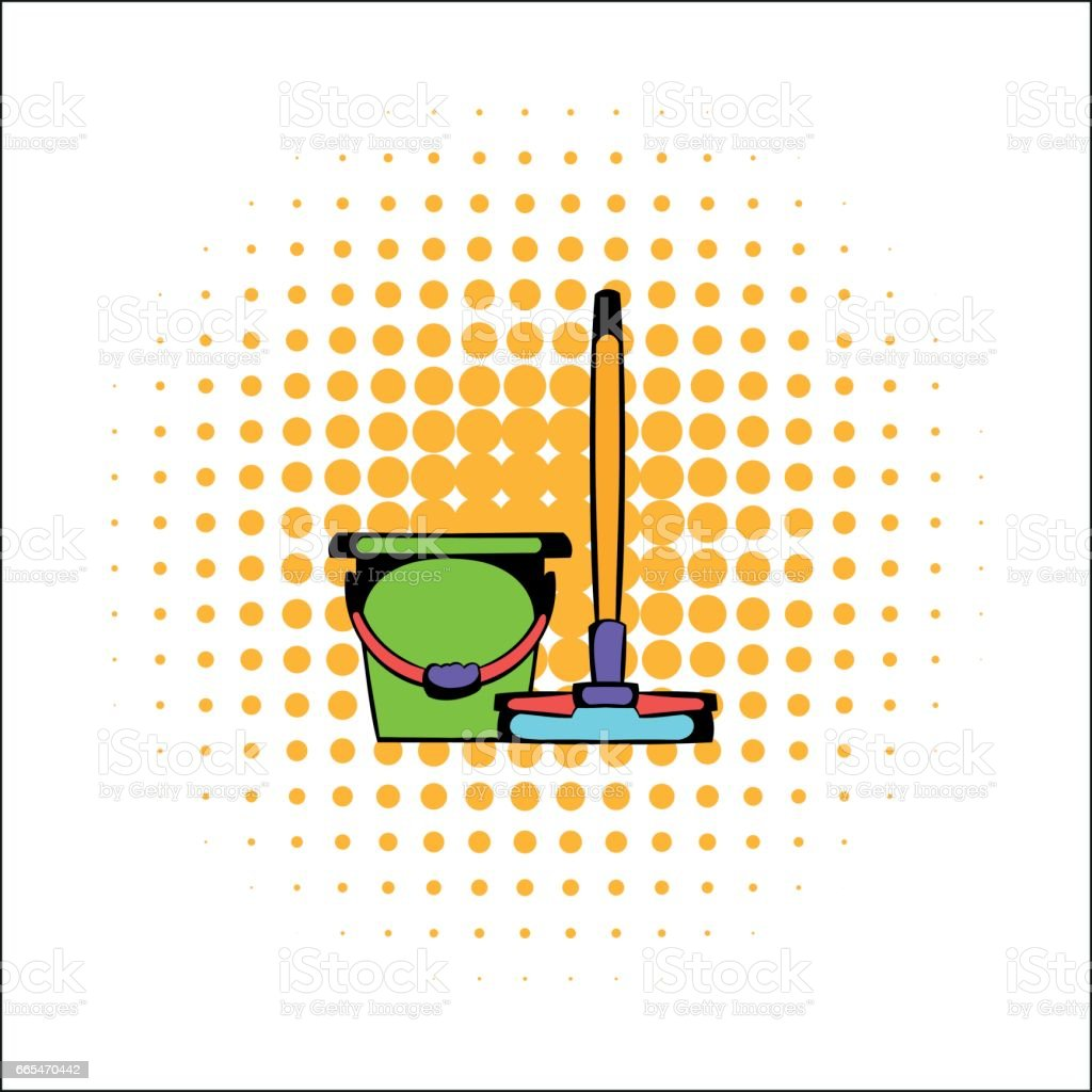 Bucket with a mop comics icon vector art illustration