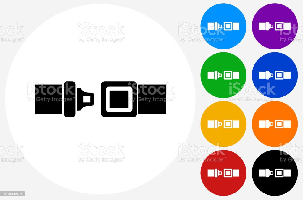 Buckle Up Icon on Flat Color Circle Buttons vector art illustration