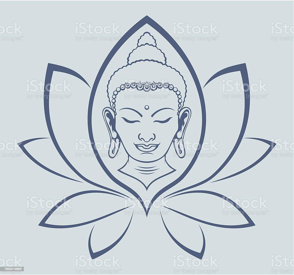 Buddha face vector art illustration