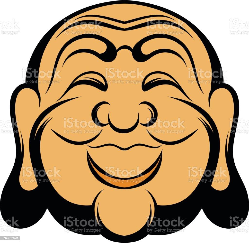 Buddha head icon cartoon vector art illustration