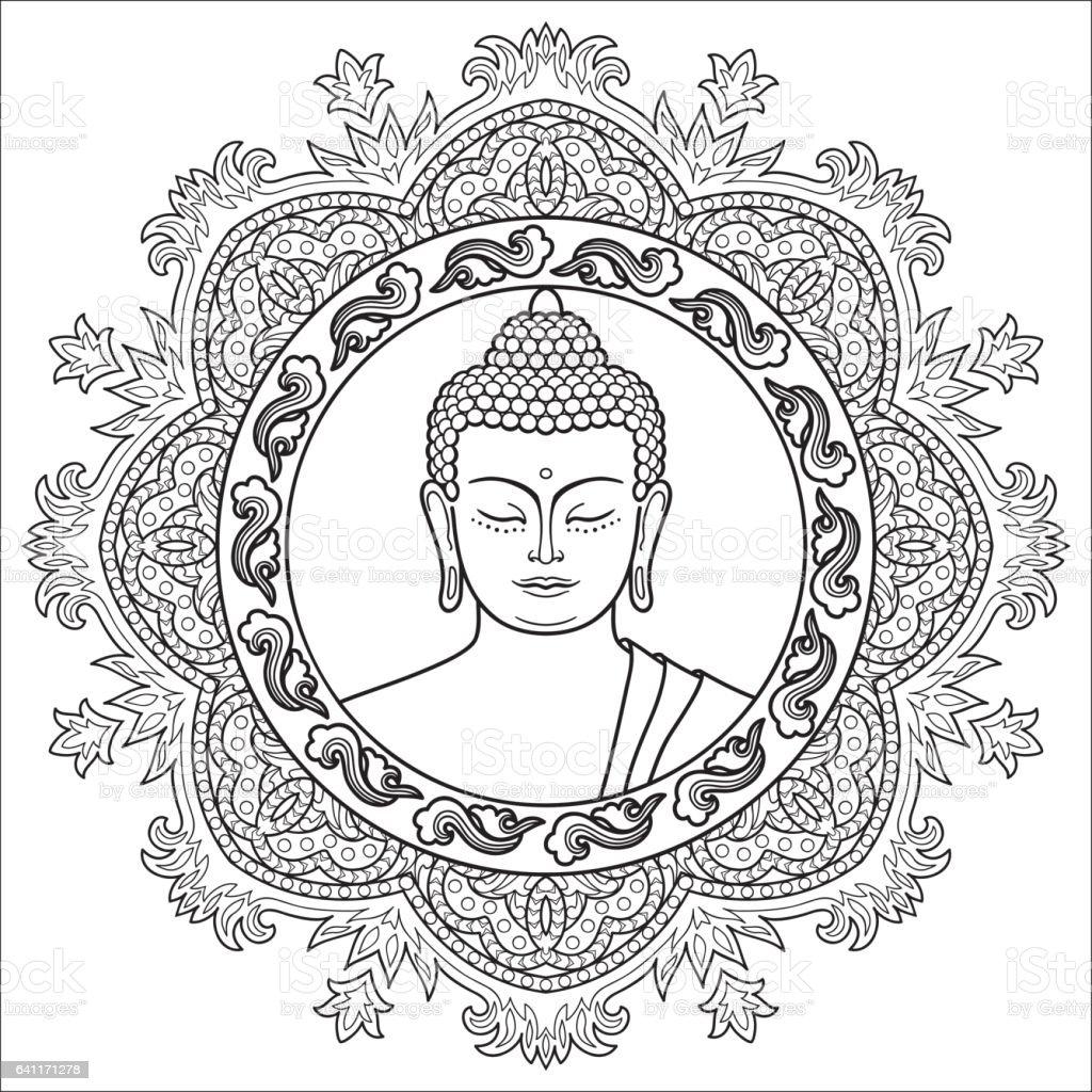buddha head on mandala background stock vector art. Black Bedroom Furniture Sets. Home Design Ideas