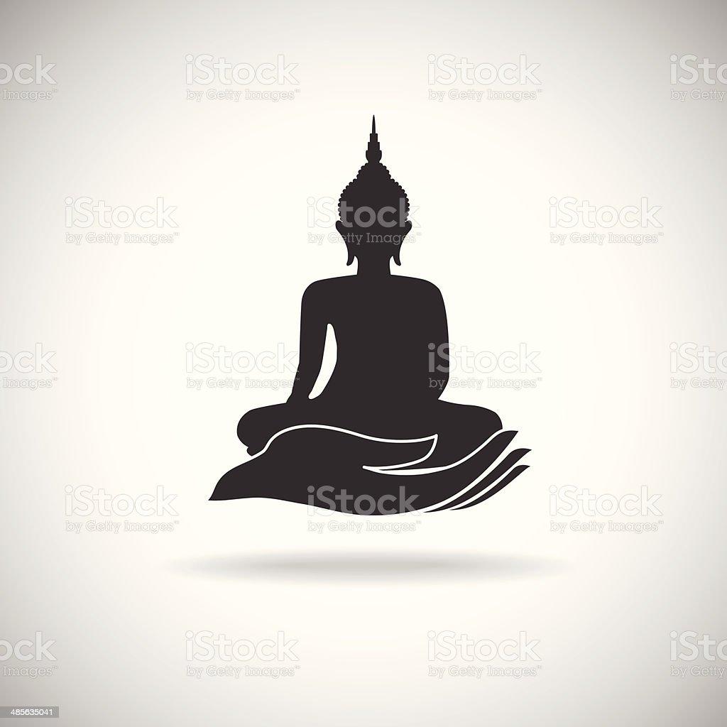 Buddha image on hand silhouette royalty-free stock vector art
