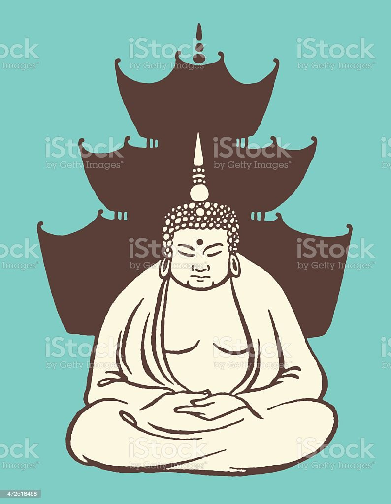 Buddha in Front of Temple vector art illustration