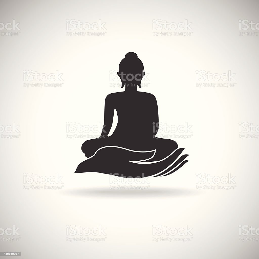 Buddha on hand silhouette royalty-free stock vector art