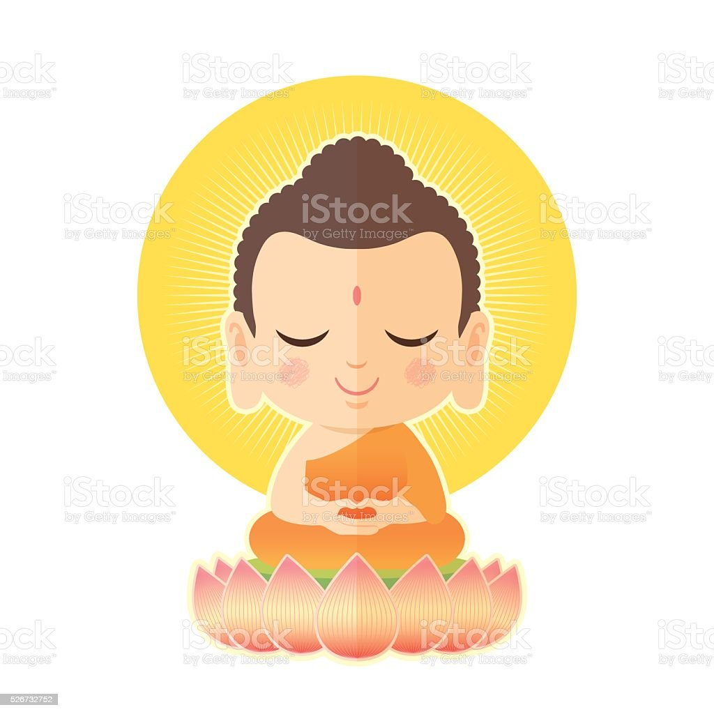 Buddha sitting on lotus vector art illustration
