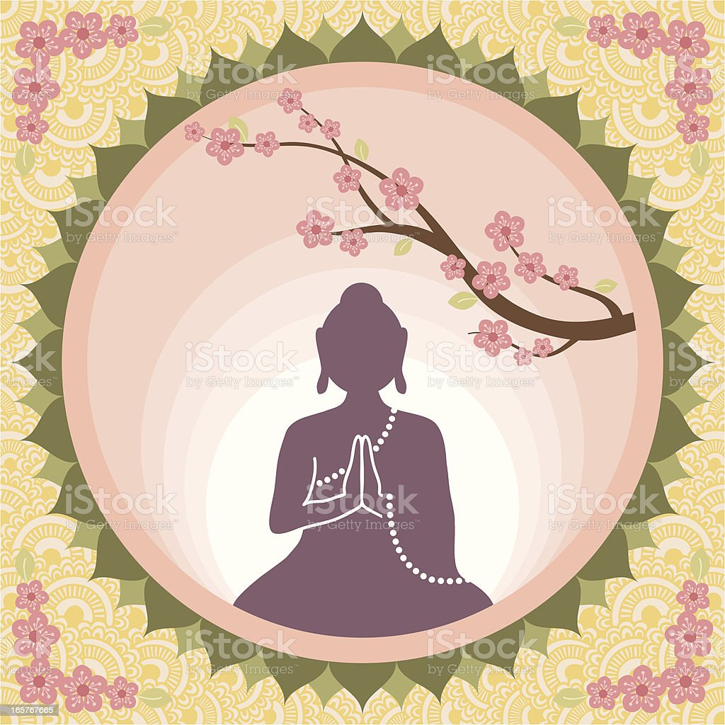 Buddha with Blossoms vector art illustration