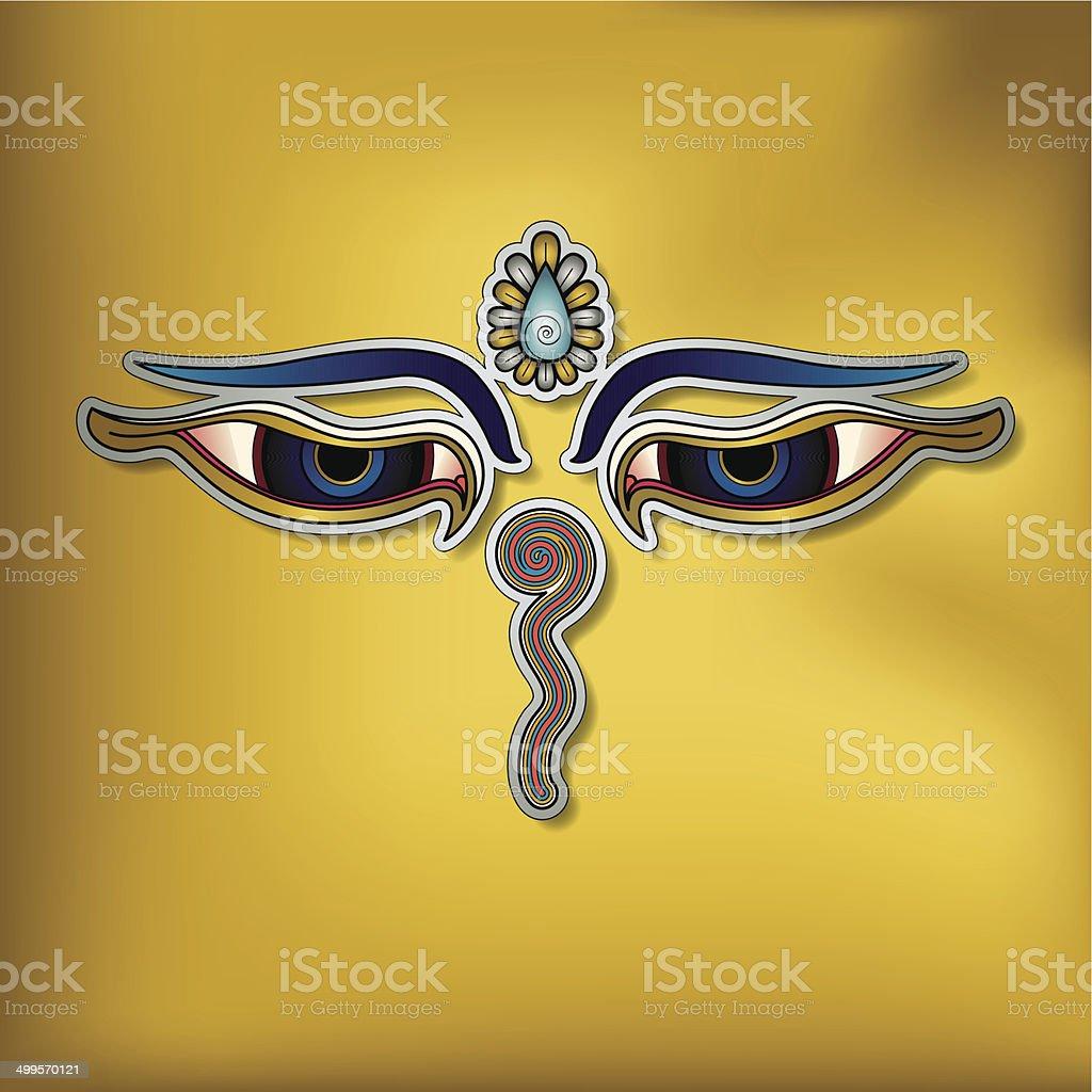 Buddha's Eyes – (Buddhist Symbol) vector art illustration