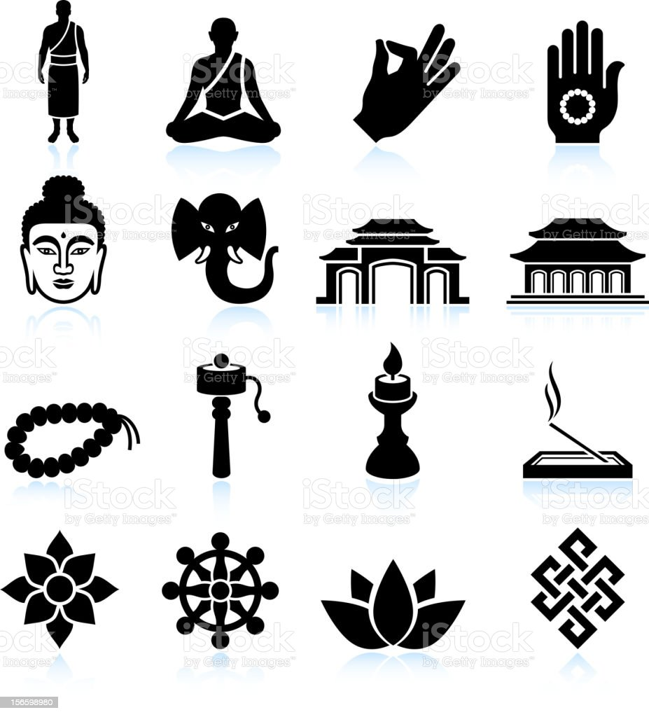 Buddhism black & white royalty free vector icon set vector art illustration