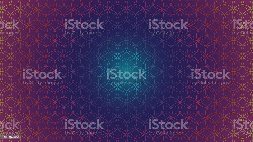 buddhism chakra illustration: Flower of Life Spectrum Gradient vector art illustration