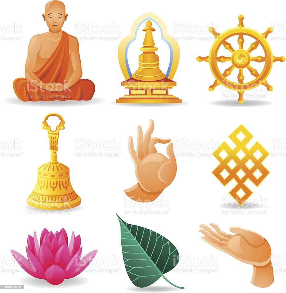 Buddhism Set royalty-free stock vector art