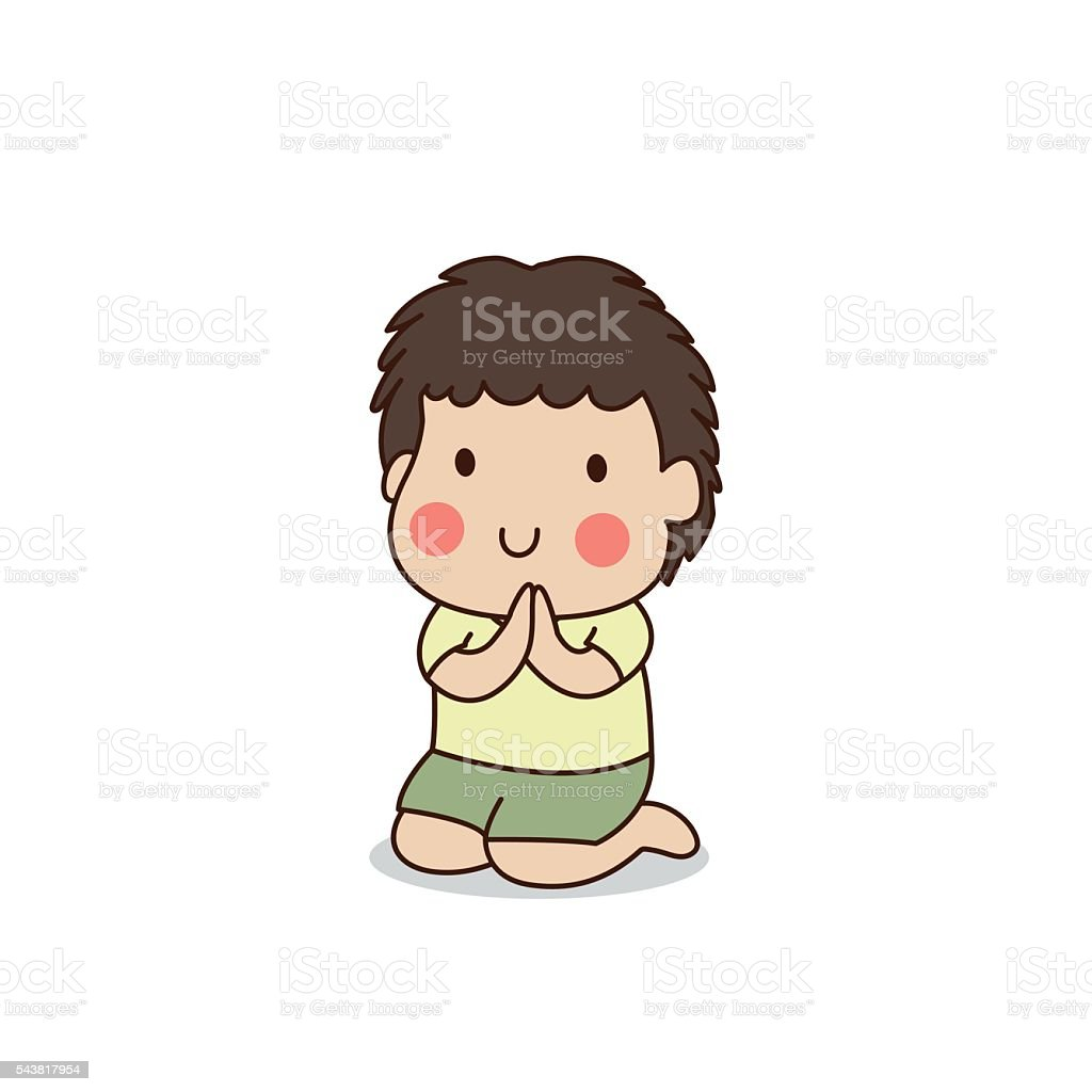 Buddhist boy sitting and paying respect to the Buddha. vector art illustration