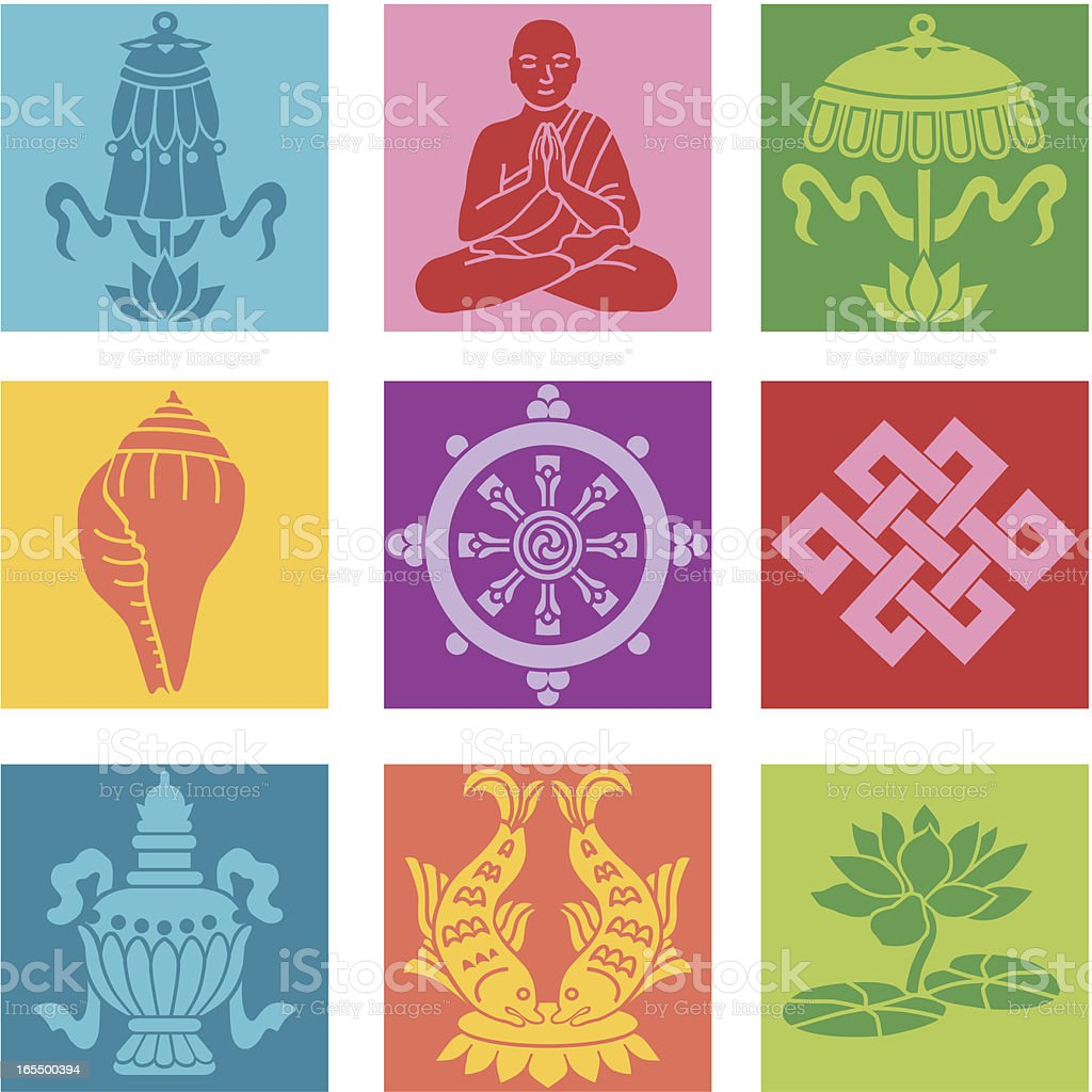Buddhist icons royalty-free stock vector art