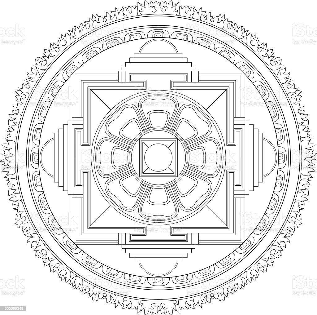 Buddhist Kalachakra Mandala (Construction / Line drawing) vector art illustration