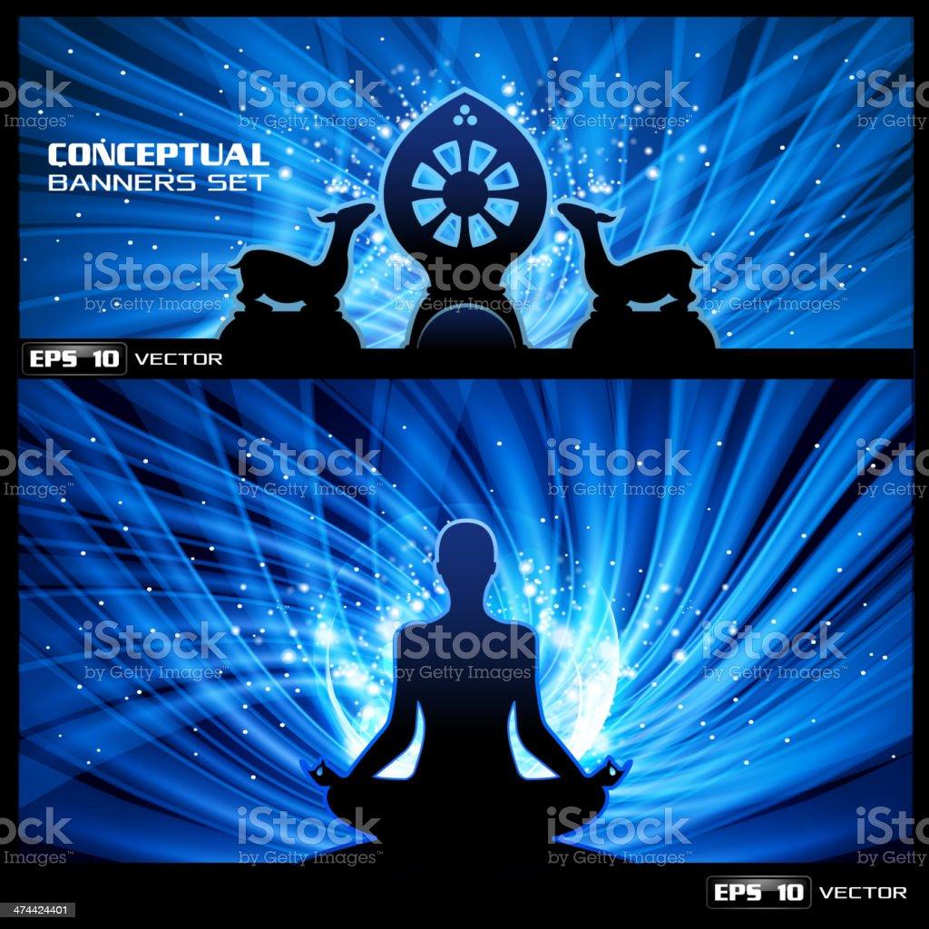 Buddhist meditation banner vector art illustration