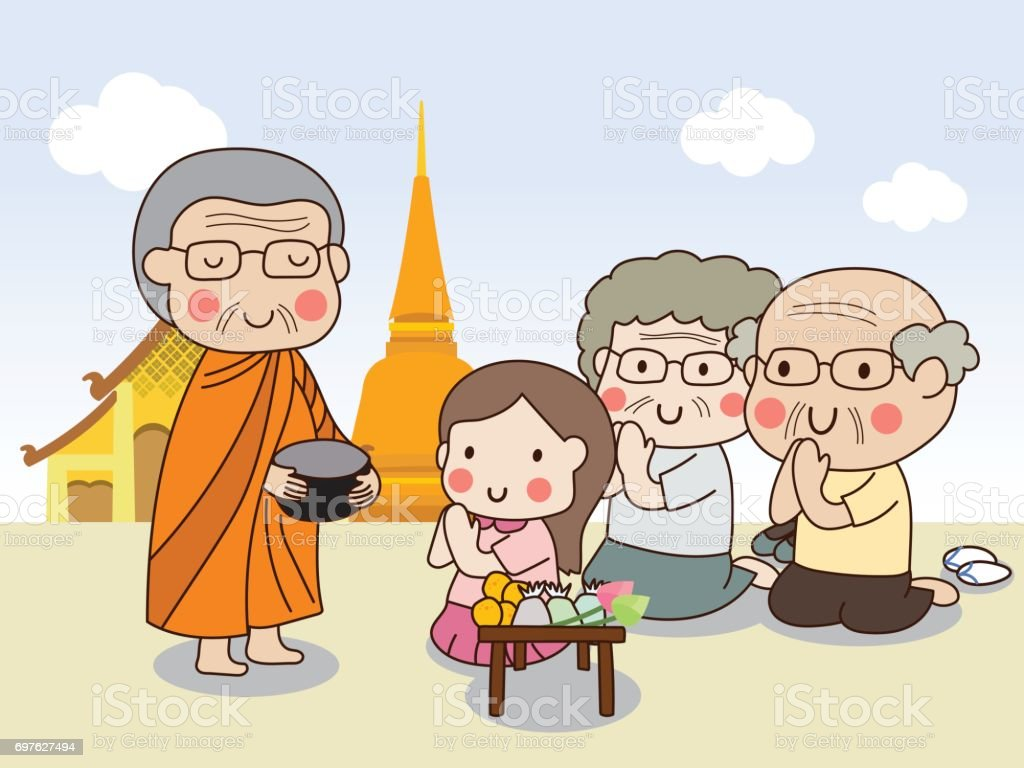 Buddhist monk holding alms bowl to receive food offering from girl with temple vector art illustration