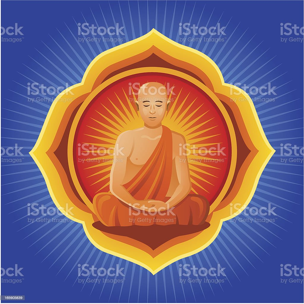 Buddhist Monk with Mandala royalty-free stock vector art