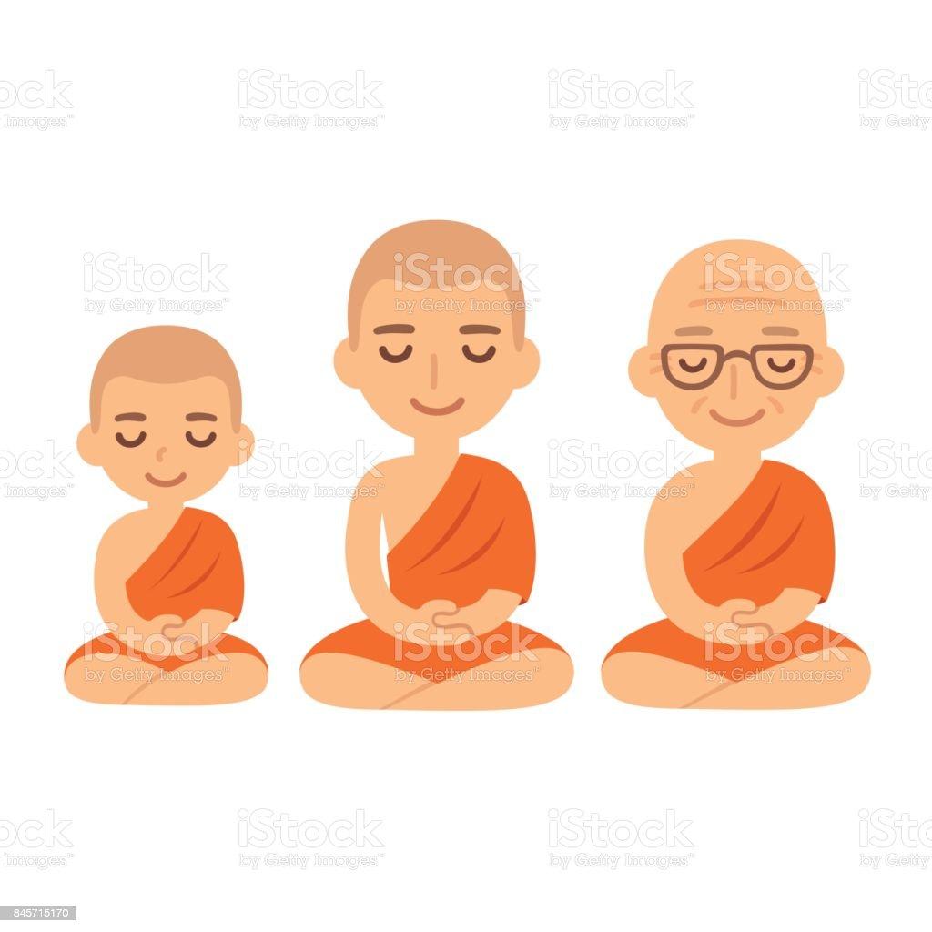 Buddhist monks meditating vector art illustration