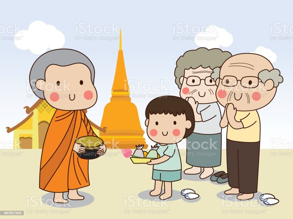 Buddhist novice holding alms bowl to receive food offering from boy with temple vector art illustration