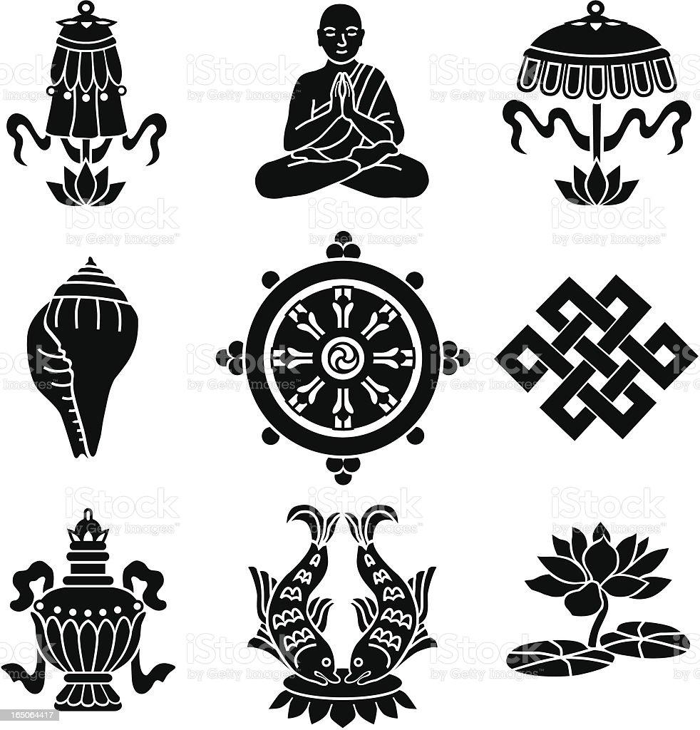 Buddhist symbols vector art illustration