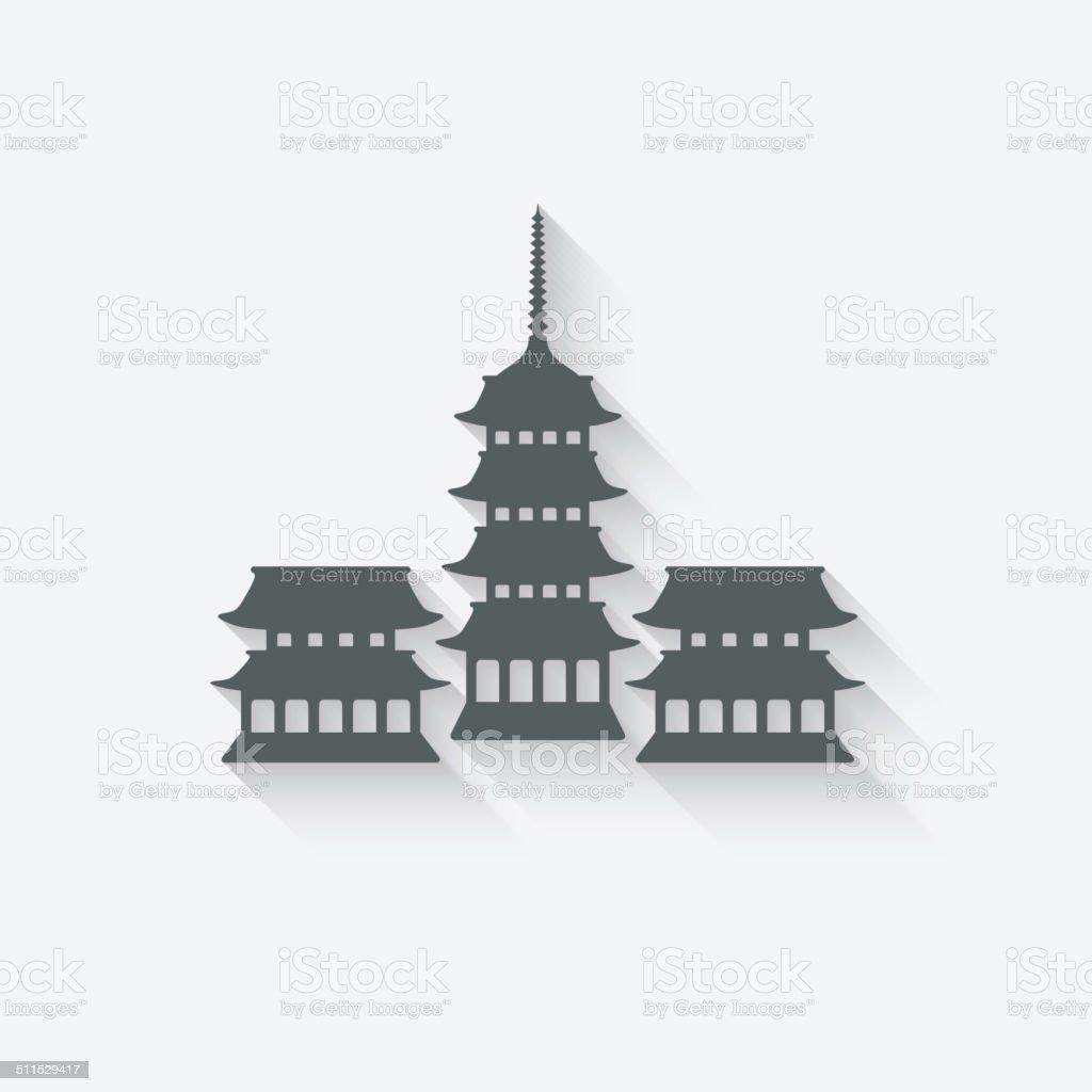 Buddhist temple design element vector art illustration