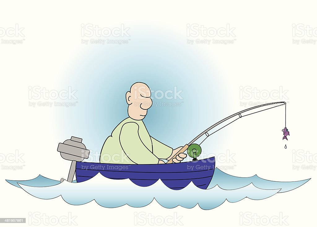 Buddy goes fishing vector art illustration