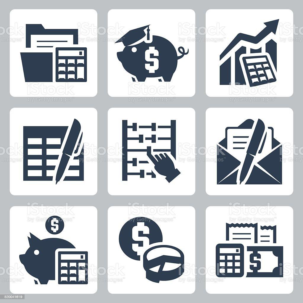 Budget, accounting vector icons set vector art illustration