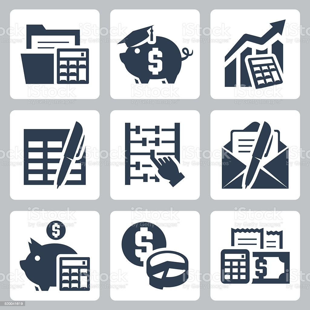 Budget, accounting vector icons set vector art illustration